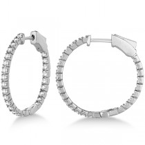 Stylish Small Round Diamond Hoop Earrings 14k White Gold (1.00ct)