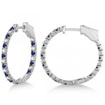 Round Diamond & Blue Sapphire Hoop Earrings 14k White Gold (1.44ct)