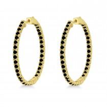 Large Round Black Diamond Hoop Earrings 14k Yellow Gold (2.05ct)