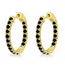 Fancy Small Round Black Diamond Hoop Earrings 14k Yellow Gold (1.00ct)