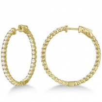Large Round Diamond Hoop Earrings 14k Yellow Gold (3.25ct)