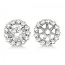 Round Diamond Earring Jackets for 9mm Studs 14K White Gold (0.75ct)