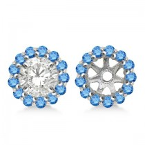 Round Blue Diamond Earring Jackets for 5mm Studs 14K White Gold (0.50ct)