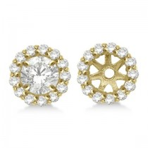 Round Diamond Earring Jackets for 8mm Studs 14K Yellow Gold (0.64ct)