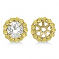 Round Yellow Diamond Earring Jackets for 9mm Studs 14K Y. Gold  (0.75ct)