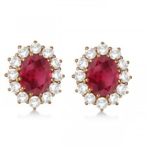 Oval Ruby Earrings with Diamonds 14k Rose Gold (7.10ctw)