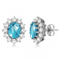 Oval Blue Topaz & Diamond Accented Earrings 14k White Gold (7.10ctw)