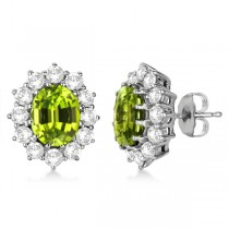 Oval Peridot & Diamond Accented Earrings 14k White Gold (7.10ctw)