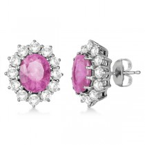 Oval Pink Sapphire & Diamond Accented Earrings 14k White Gold (7.10ctw)