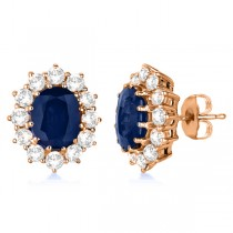 Oval Blue Sapphire and Diamond Earrings 14k Rose Gold (7.10ctw)