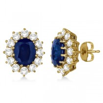 Oval Blue Sapphire and Diamond Earrings 18k Yellow Gold (7.10ctw)