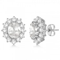 Oval White Topaz & Diamond Accented Earrings 14k White Gold (7.10ct)