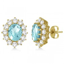 Oval Aquamarine and Diamond Earrings 14k Yellow Gold (7.10ctw)