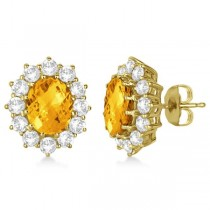 Oval Citrine and Diamond Earrings 14k Yellow Gold (7.10ctw)