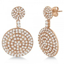 Dangling Double Circle Diamond Earrings Pave 14k Rose Gold (4.10ct)