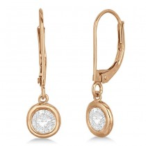 Leverback Dangling Drop Diamond Earrings 14k Rose Gold (2.00ct)
