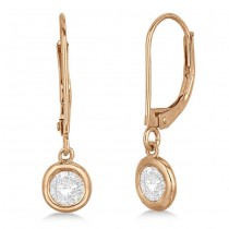 Leverback Dangling Drop Diamond Earrings 14k Rose Gold (1.50ct)