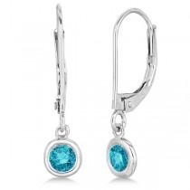 Leverback Dangling Drop Blue Diamond Earrings 14k White Gold (0.40ct)