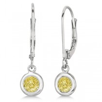 Leverback Dangling Drop Yellow Diamond Earrings 14k White Gold (0.50ct)