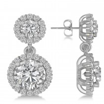 Two Stone Dangling Halo Diamond Earrings 14k White Gold (3.00ct)