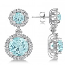 Two Stone Dangling Aquamarine & Diamond Earrinsg 14k White Gold (3.00ct)