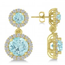 Two Stone Dangling Aquamarine & Diamond Earrings 14k Yellow Gold (3.00ct)