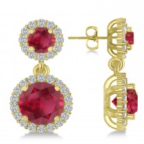 Two Stone Dangling Ruby and Diamond Earrings 14k Yellow Gold (3.00ct)