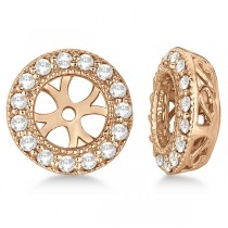 Vintage Round Cut Diamond Earring Jackets 14k Rose Gold (0.34ct)