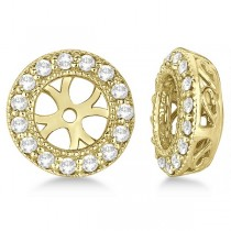 Vintage Round Cut Diamond Earring Jackets 14k Yellow Gold (0.22ct)