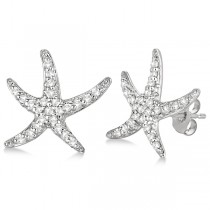 Diamond Starfish Earrings 14k White Gold (0.50ct)