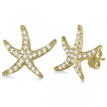 Diamond Starfish Earrings 14k Yellow Gold (0.50ct)