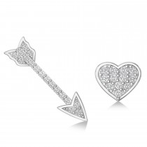 Heart & Arrow Diamond Mismatched Earrings 14k White Gold (0.21ct)