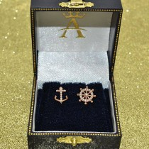 Anchor & Ship's Wheel Diamond Mismatched Earrings 14k Rose Gold (0.21ct)