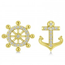Anchor & Ship's Wheel Diamond Mismatched Earrings 14k Yellow Gold (0.21ct)