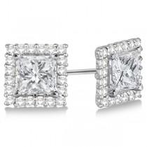 Square Diamond Earring Jackets Pave-Set 14k White Gold (0.50ct)