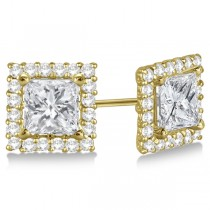 Square Diamond Earring Jackets Pave-Set 14k Yellow Gold (1.01ct)