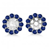 Round Blue Sapphire Earring Jackets 8mm Studs 14K White Gold (1.44ct)