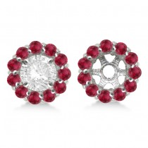 Round Ruby Earring Jackets for 6mm Studs 14K White Gold (1.20ct)