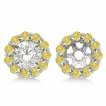 Round Yellow Diamond Earring Jackets for 7mm Studs 14K W. Gold (0.90t)
