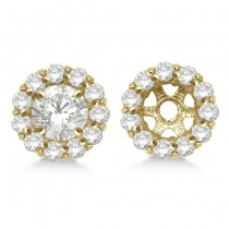 Round Diamond Earring Jackets for 6mm Studs 14K Yellow Gold (0.80ct)