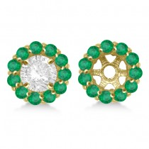 Round Emerald Earring Jackets for 6mm Studs 14K Yellow Gold (1.20ct)