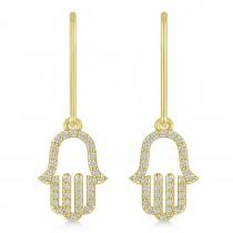 Hand of God Hamsa Dangling Diamond Earrings 14k Yellow Gold (0.36ct)