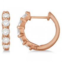 Hinged Hoop Diamond Huggie Style Earrings in 14k Rose Gold (1.00ct)