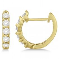 Hinged Hoop Diamond Huggie Style Earrings in 14k Yellow Gold (0.33ct)