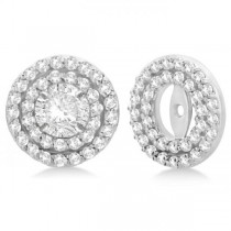 Double Halo Diamond Earring Jackets for 5mm Studs 14k White Gold (0.60ct)