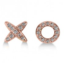 Diamond Mismatched XO Stud Earrings 14k Rose Gold (0.21ct)