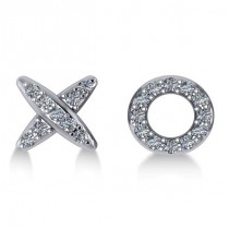 Diamond Mismatched XO Stud Earrings 14k White Gold (0.21ct)