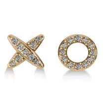 Diamond Mismatched XO Stud Earrings 14k Yellow Gold (0.21ct)