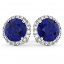Halo Round Blue Sapphire & Diamond Earrings 14k White Gold (5.17ct)