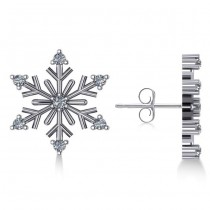 Diamond Snowflake Winter Earrings in 14k White Gold (0.15ct)